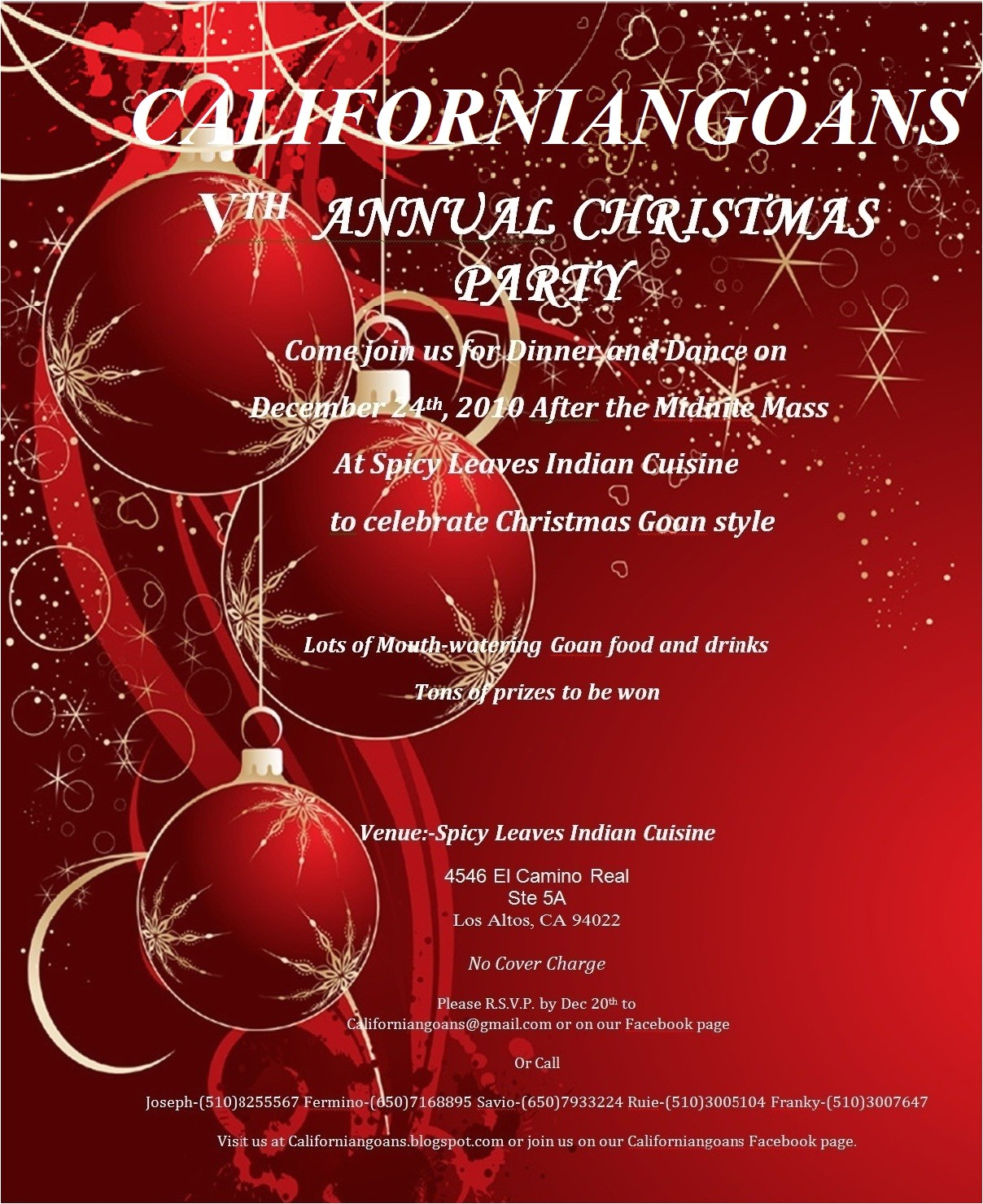 christmas party invitation card design idea with white font color and red background and christmas ball background picture