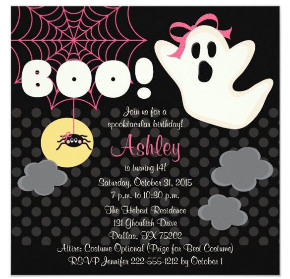 sample halloween birthday invitation