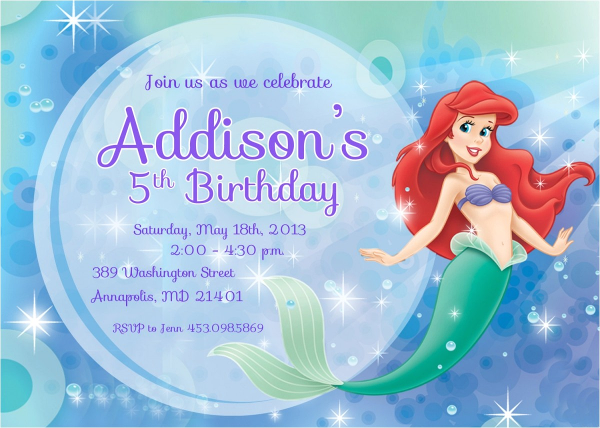 post free mermaid printable invitation template 129833