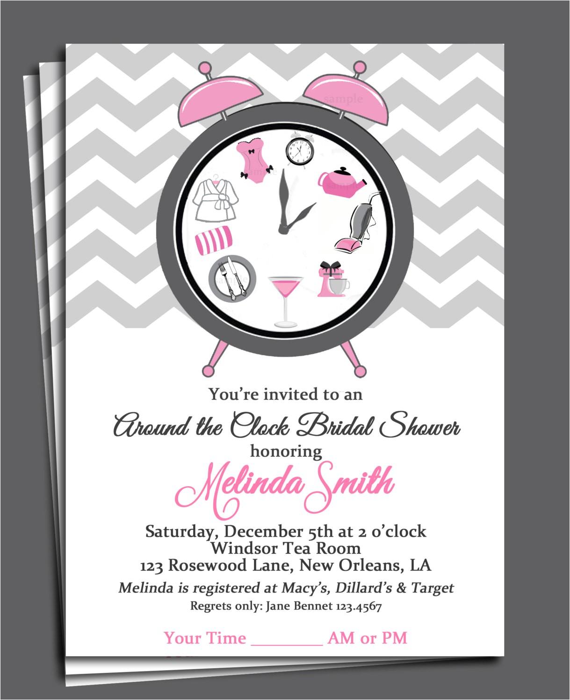 around the clock bridal shower