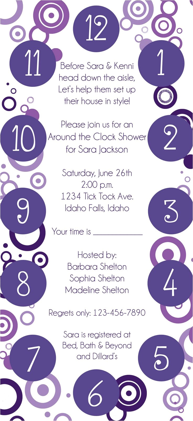 Free Around the Clock Bridal Shower Invitation Templates Around the Clock Shower Invitations Template