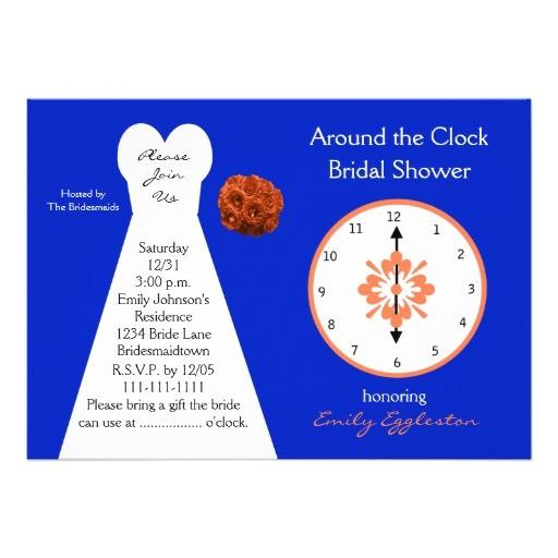 around clock bridal shower invitations