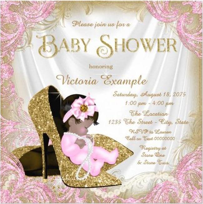 glitter baby girl shower invitation sample