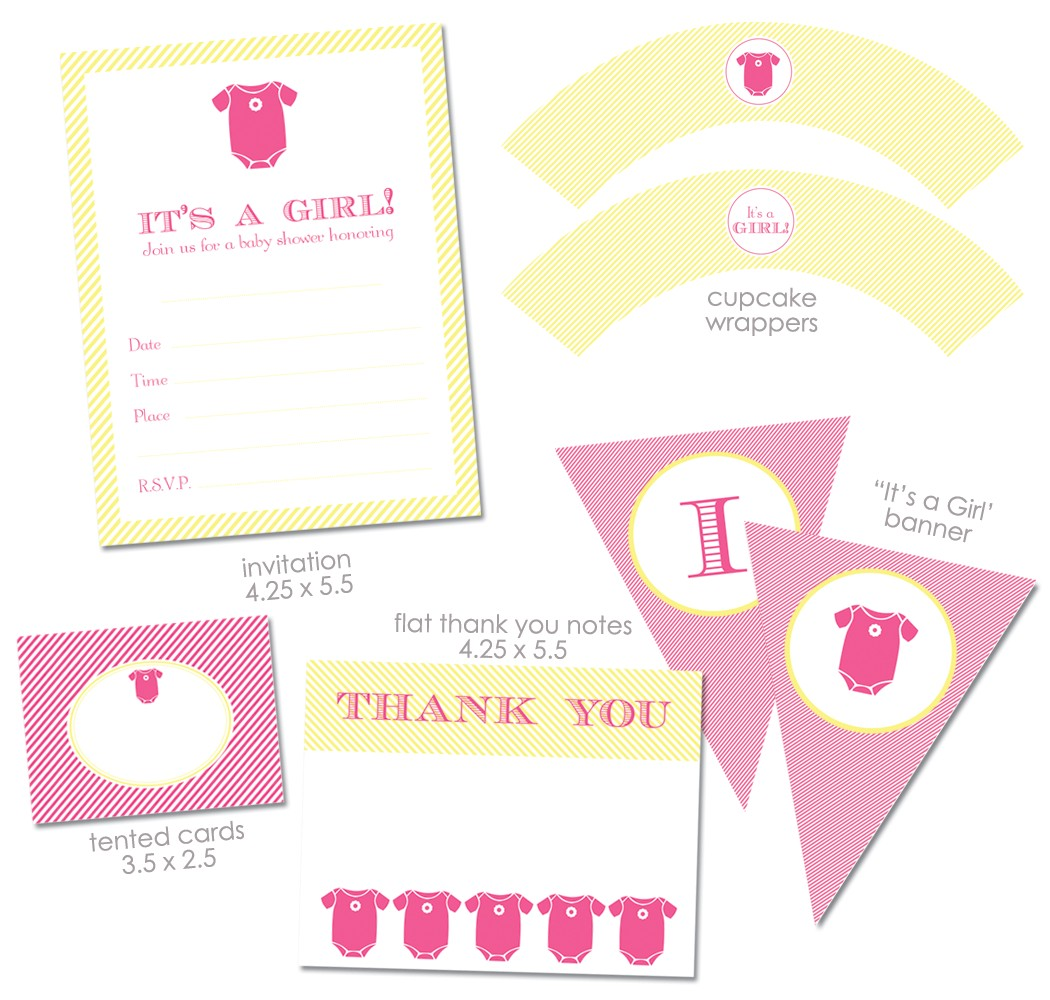 free girl baby shower printables from green apple paperie