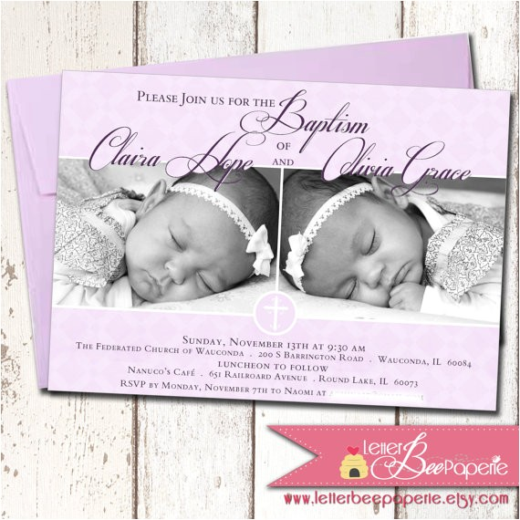 Free Baptism Invitations for Twins Custom Twins Baby Girls Baptism Invitation Christening