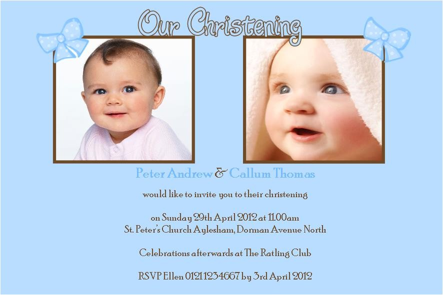 personalised boy twins christening photo invitations 2429 p