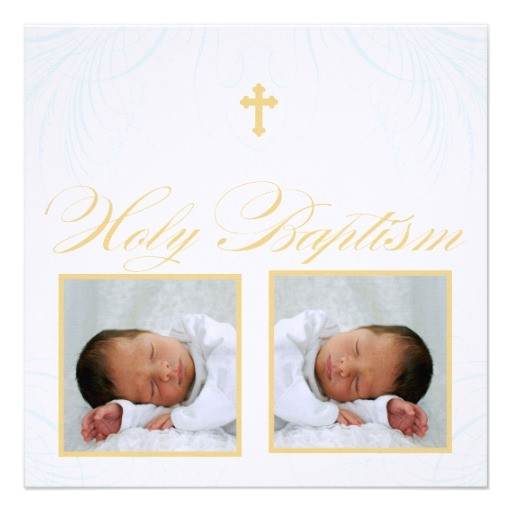 twin boys photo baptism invitation