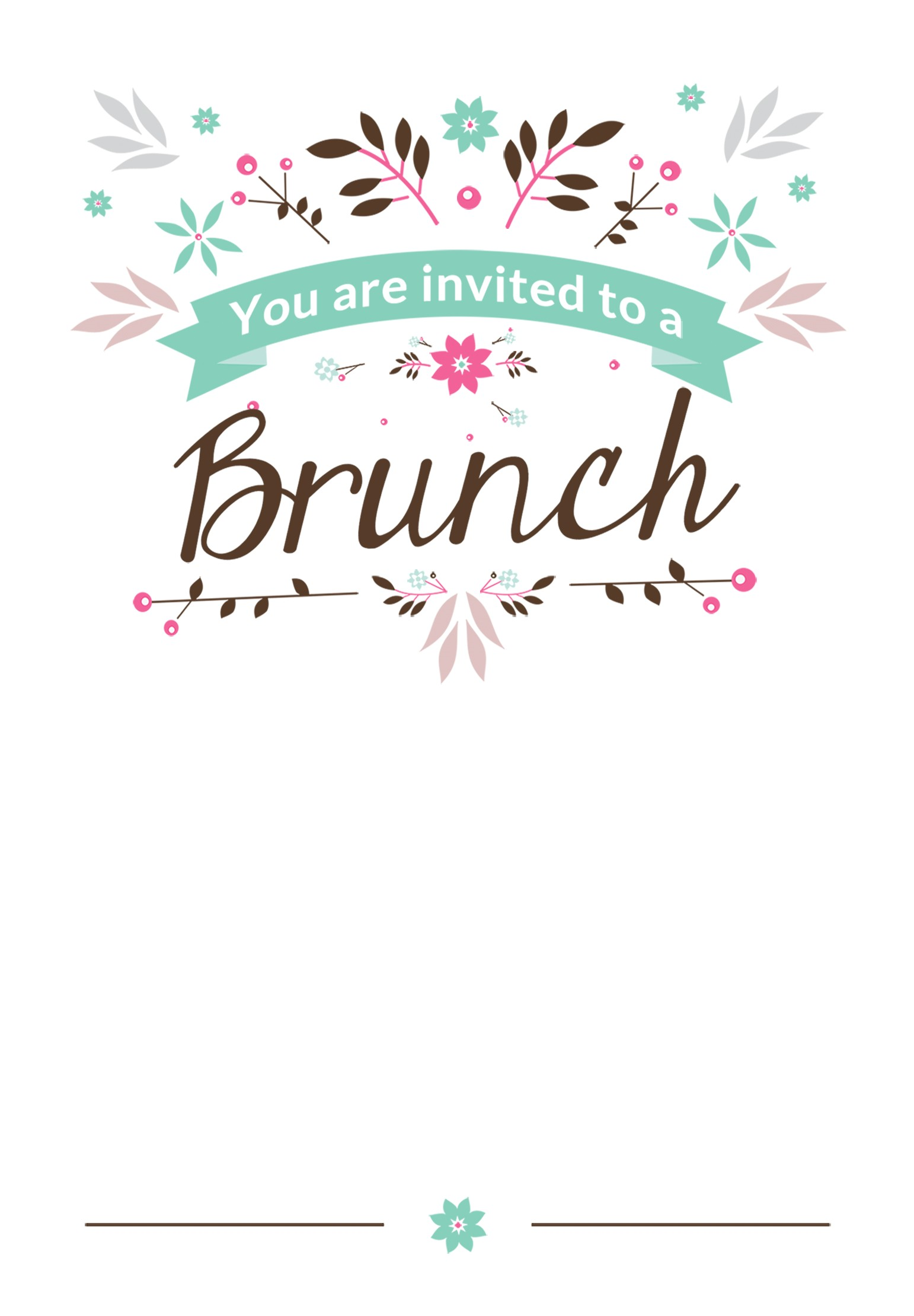 Free Birthday Brunch Invitations Flat Floral Free Printable Brunch Invitation Template