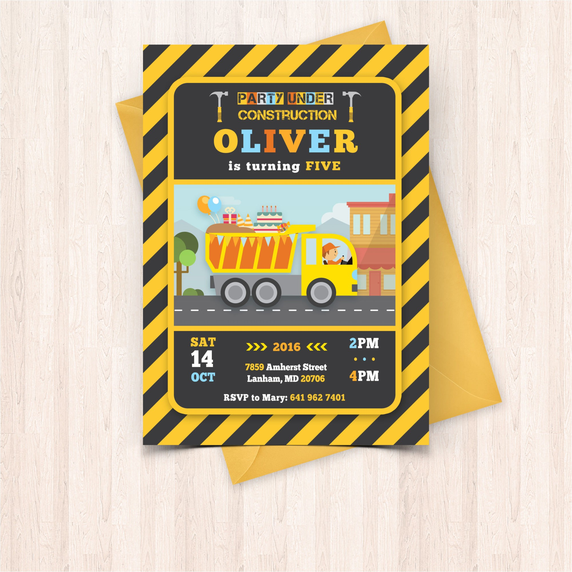 printable construction birthday invitations free thank you cards to print at home