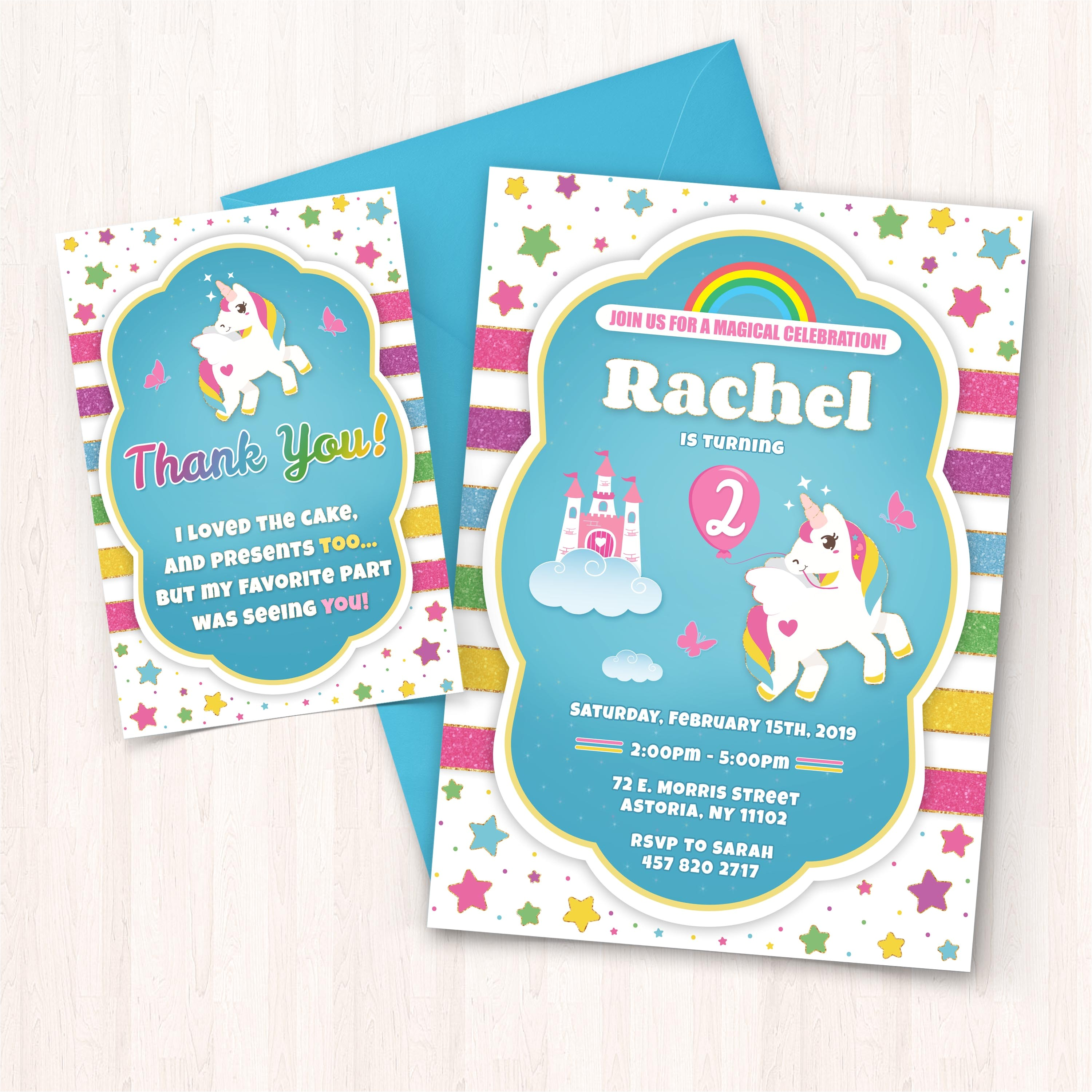 printable unicorn birthday invitations free thank you cards to print at home