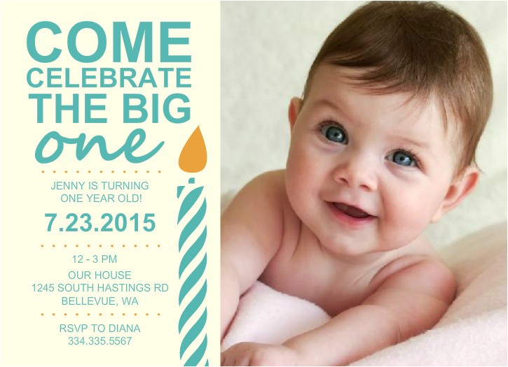 free one year old birthday invitation