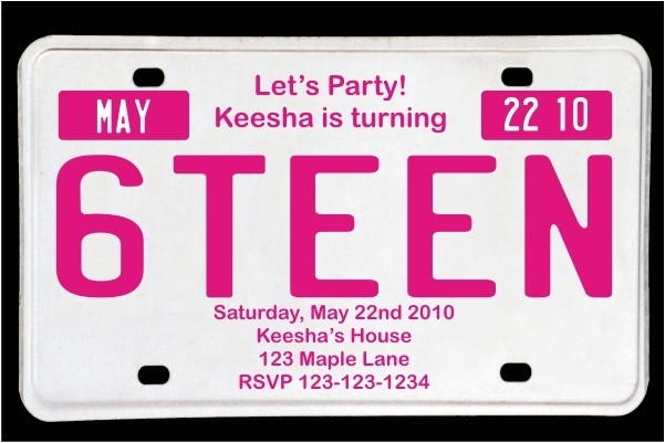 sweet 16 license plate birthday invitation magenta