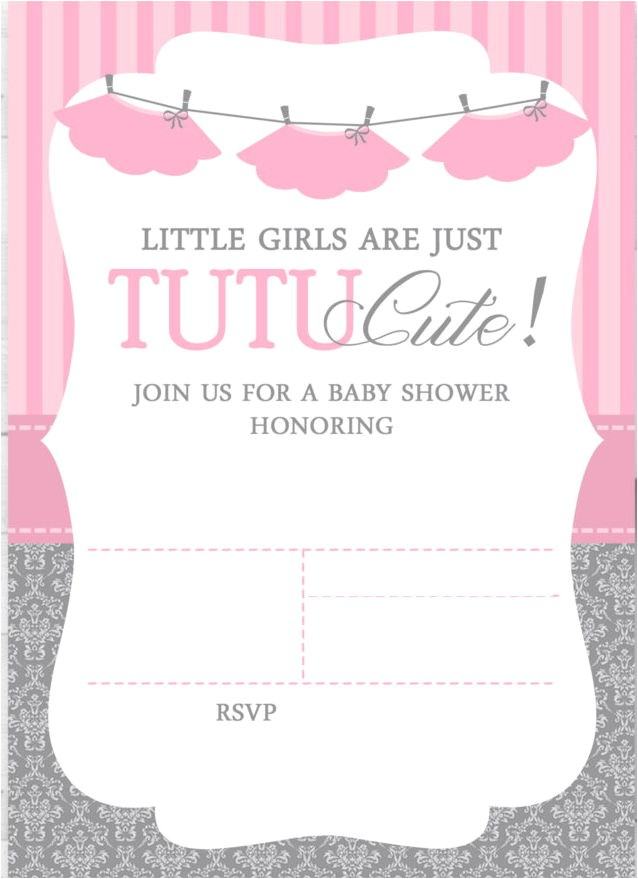 cute ballerina baby shower invitations free