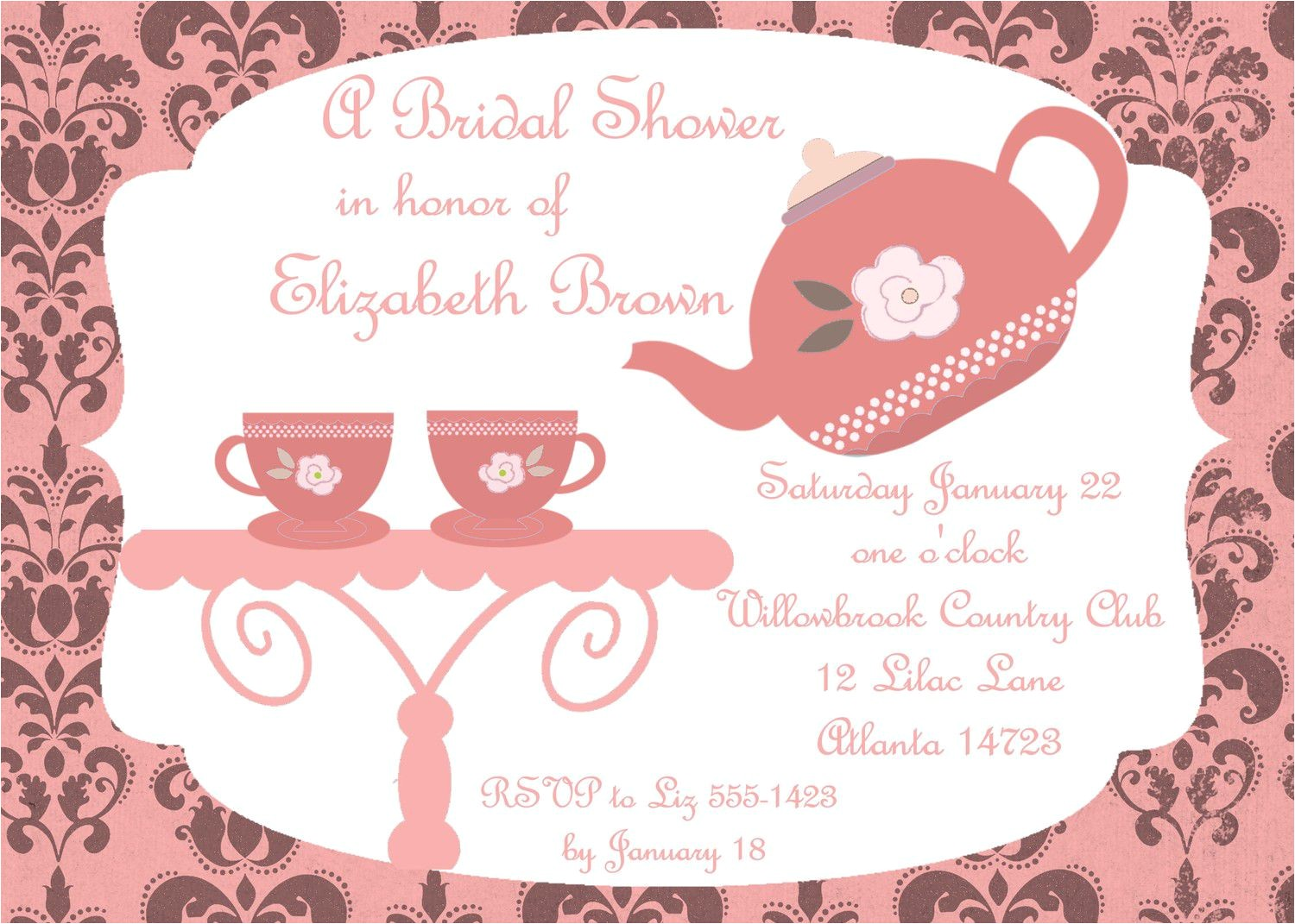 bridal shower tea party invitations free