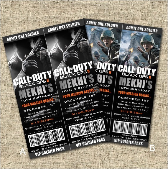 free printable call of duty birthday invitations