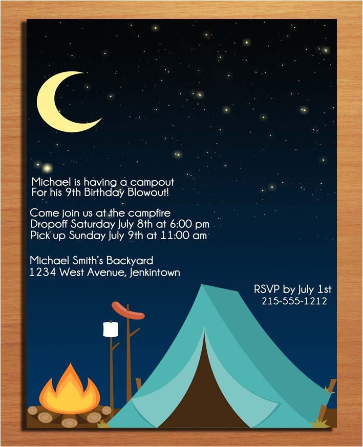 post camping party invitations free printable 241483