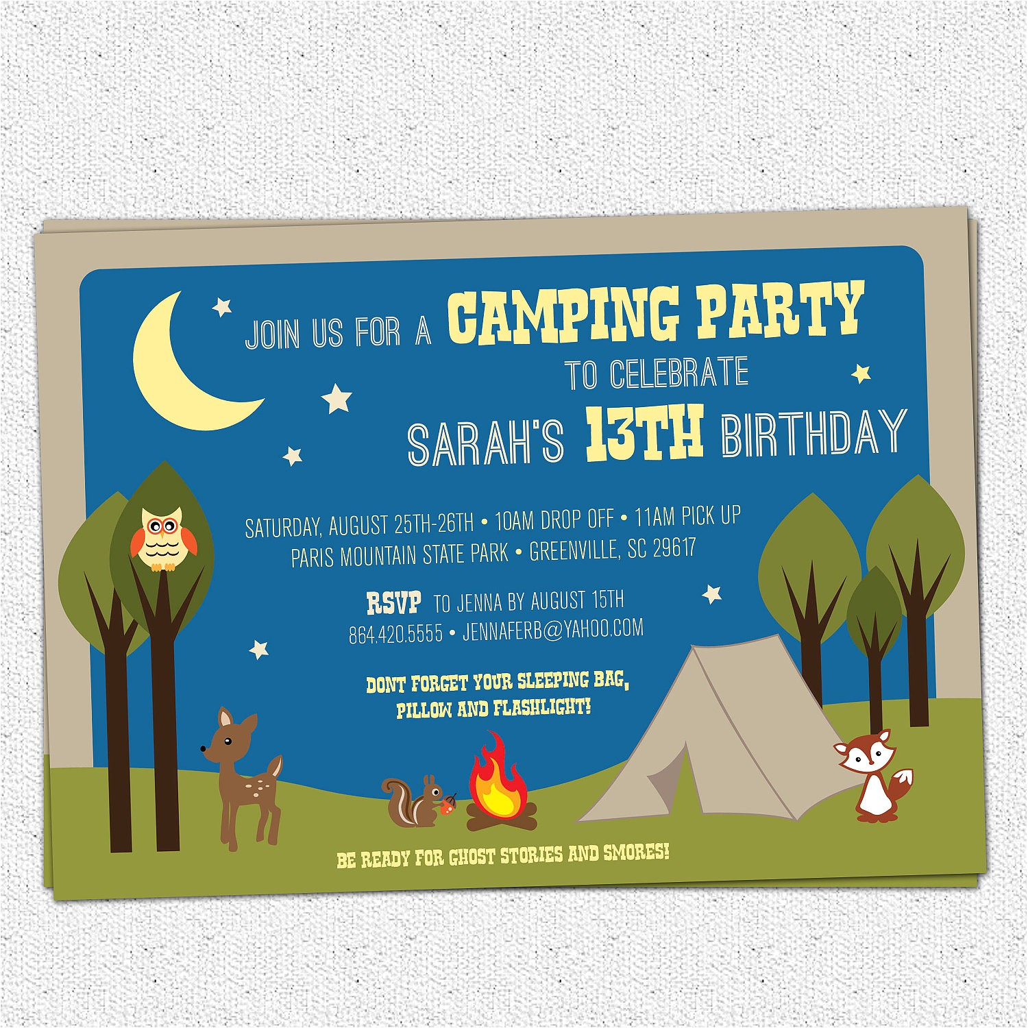 camping party invitation birthday summer