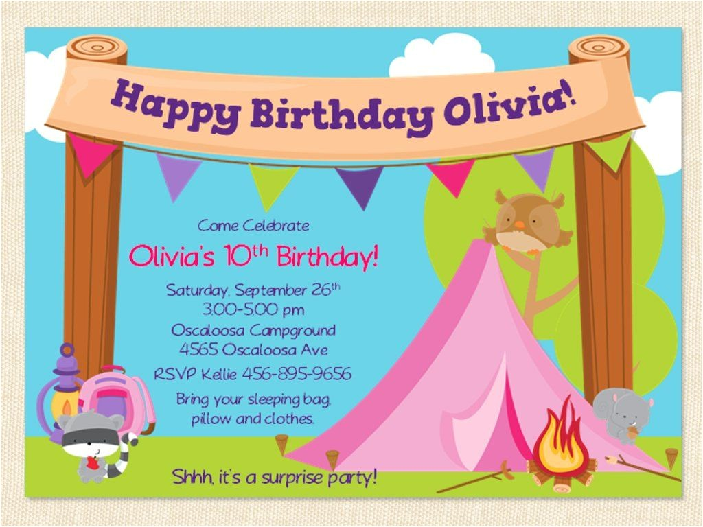 Free Camping Birthday Party Invitation Templates Free Printable Camping Birthday Invitation Template Cori