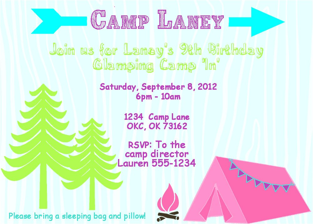 glamping birthday party invitation templates