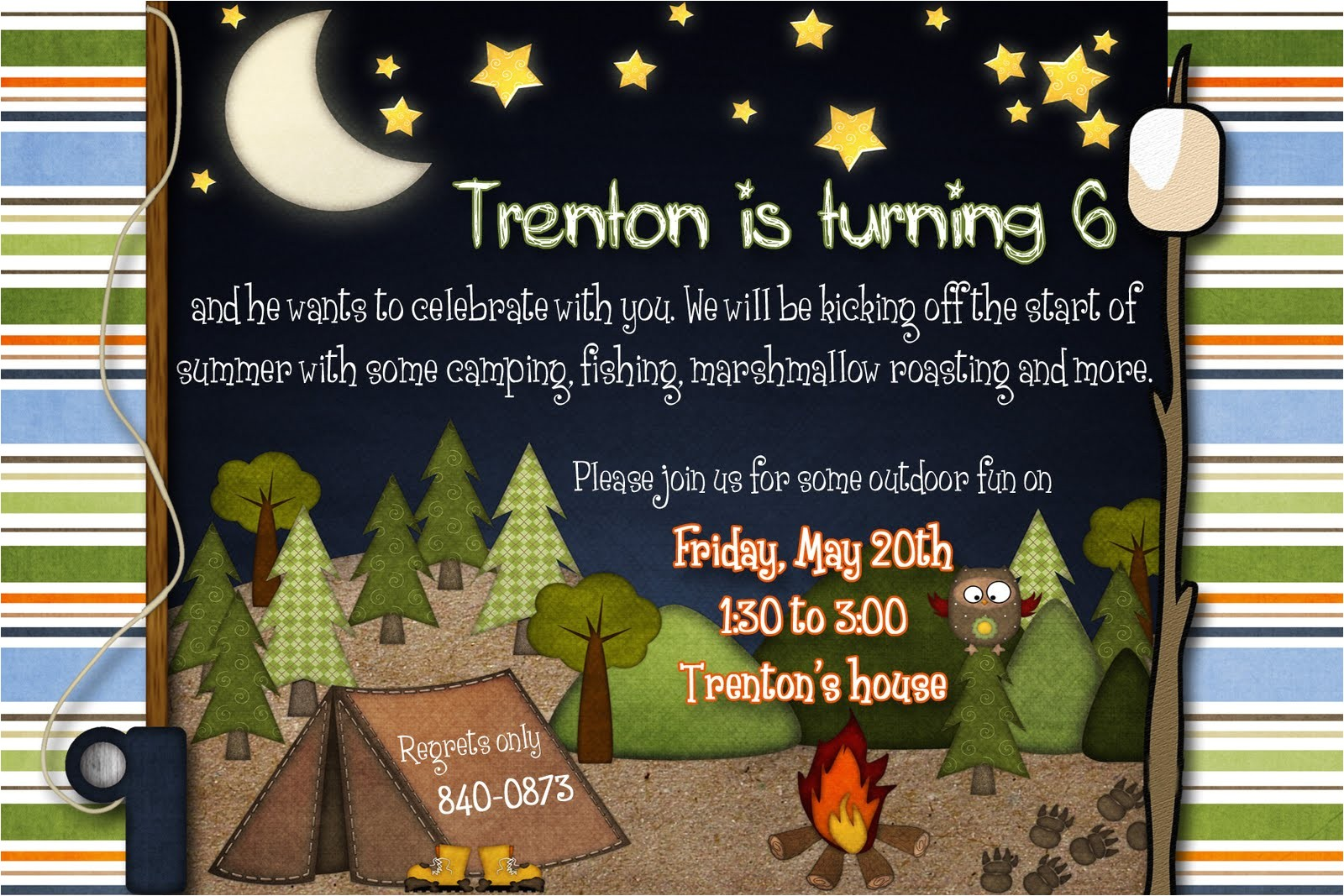 camping party invites thank yous