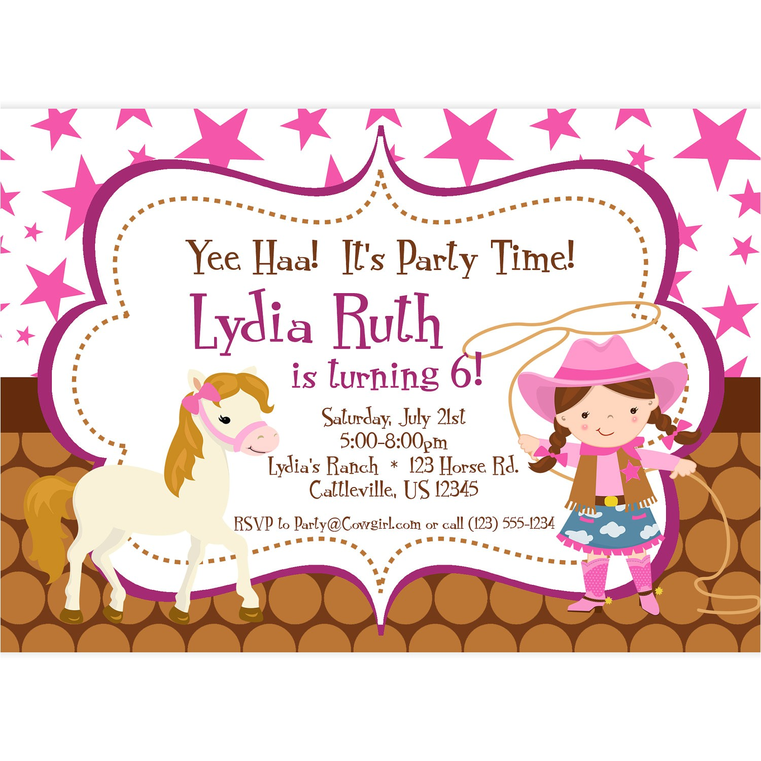 cowgirl birthday invitations templates