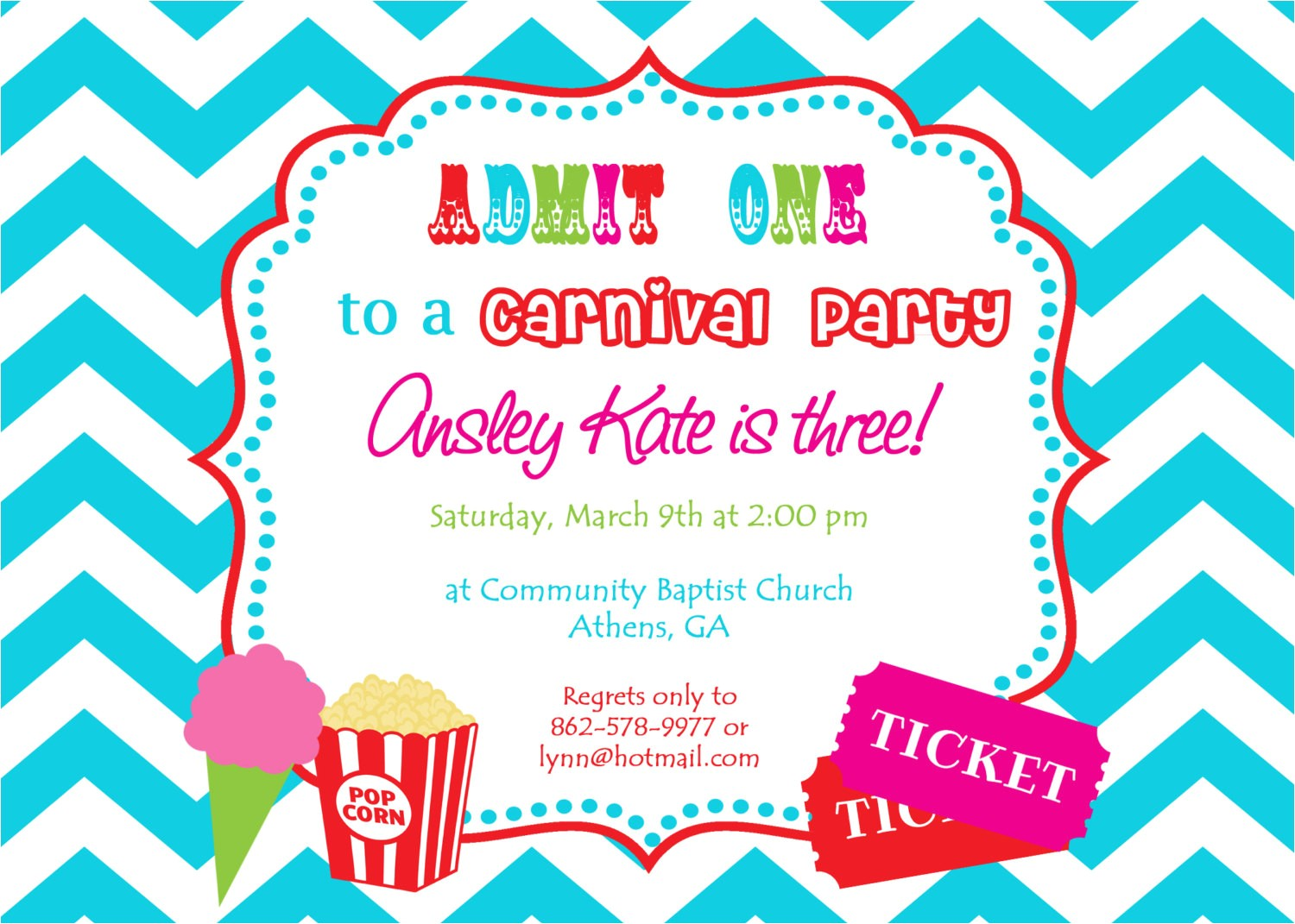 custom carnival birthday invitations