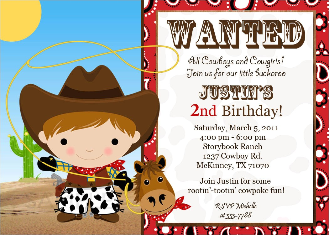 custom cowgirl birthday invitations free