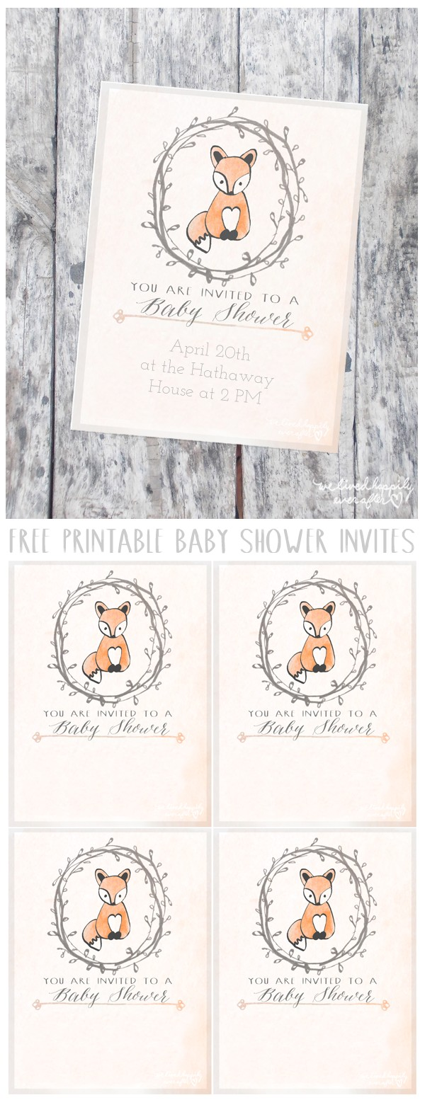 free customizable forest animal baby shower
