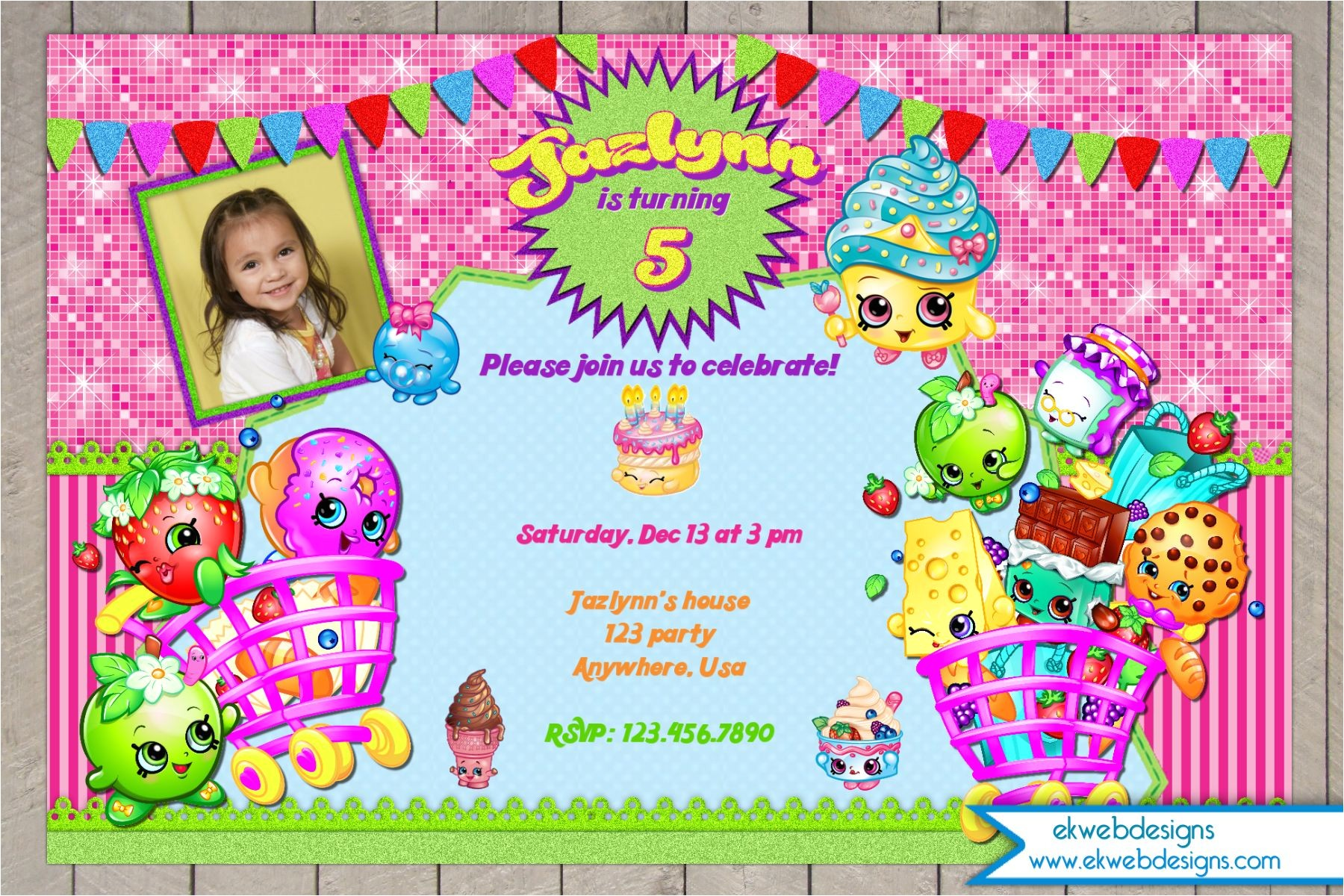 shopkins birthday invitation digital file