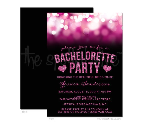 party lights glitter bachelorette party invitation 2