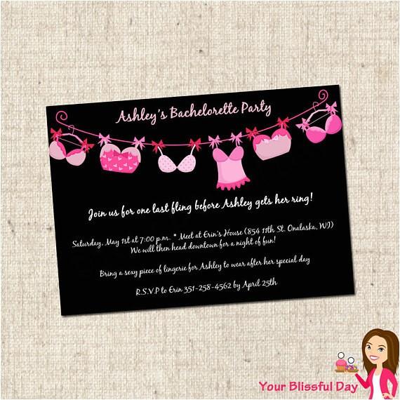 printable bra line bachelorette party invitations