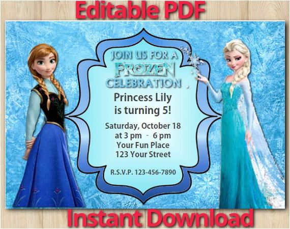 post frozen birthday invitations editable printable