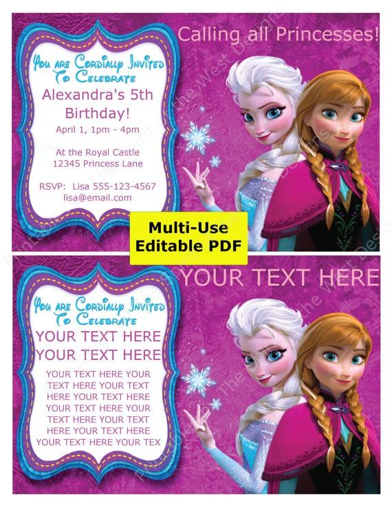 sale frozen party invitation editable pdf
