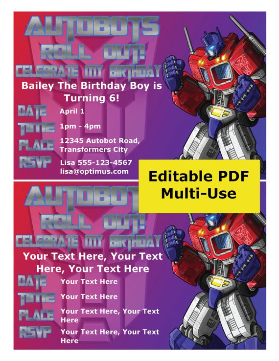 transformers party invitation editable ref=shop home active 11