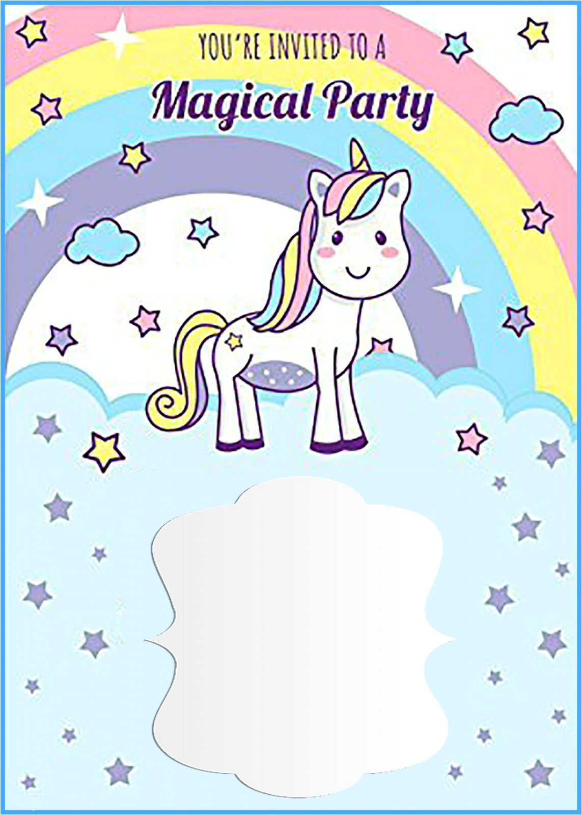 unicorn free printable first birthday invitation template