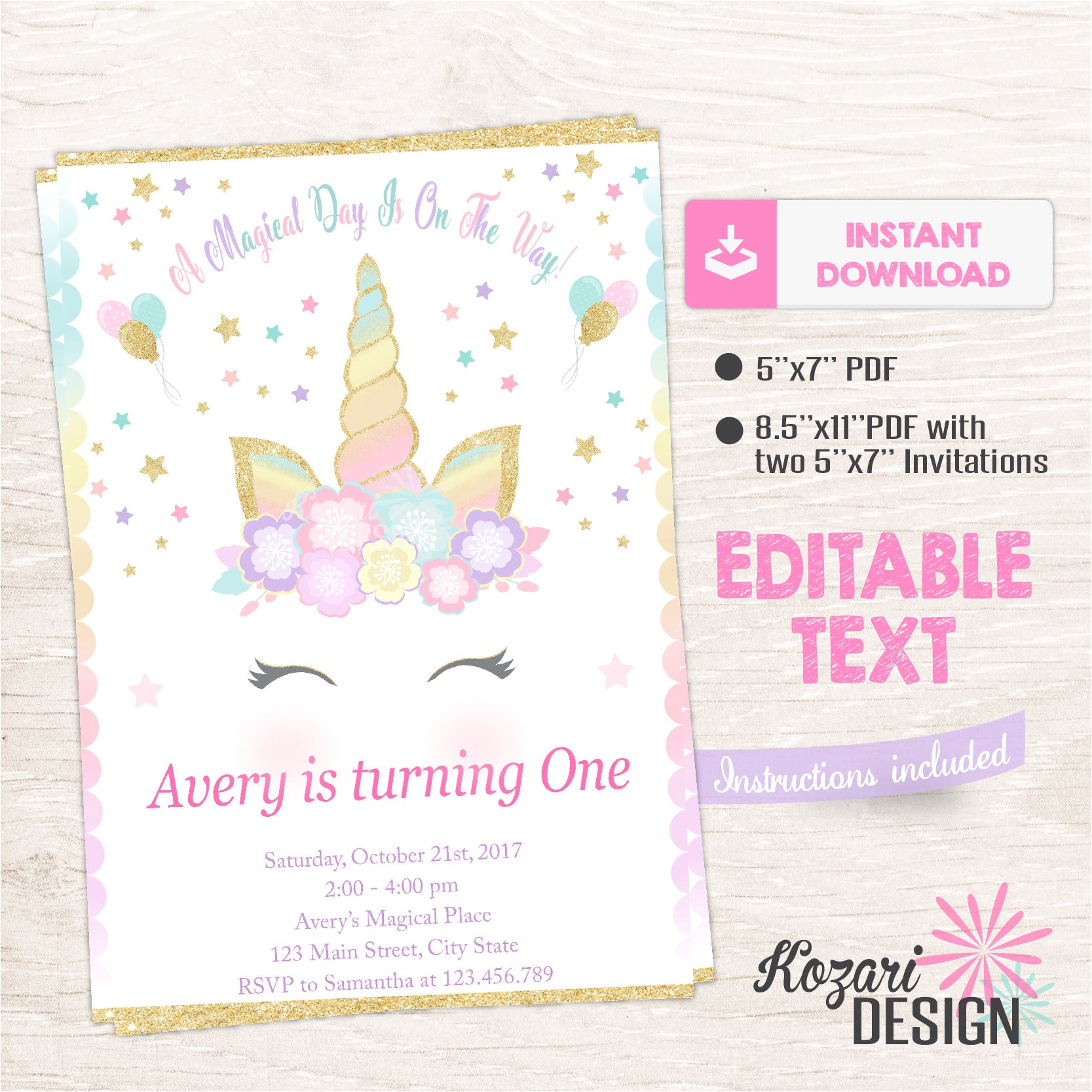 unicorn invitation magical birthday