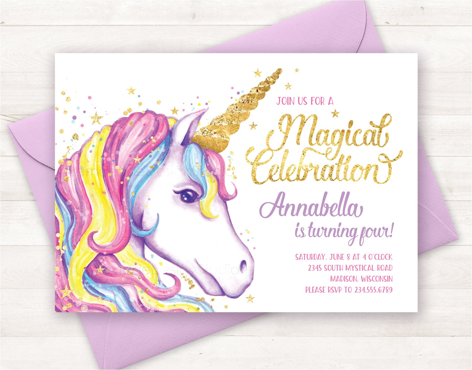 unicorn invitation unicorn birthday