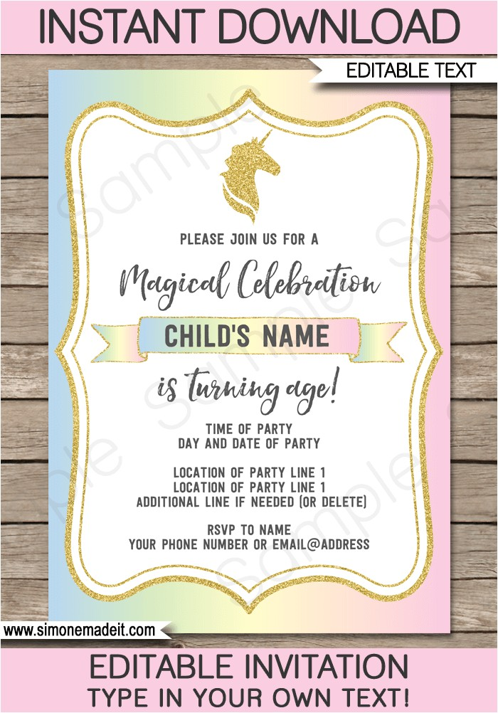 unicorn invitations template