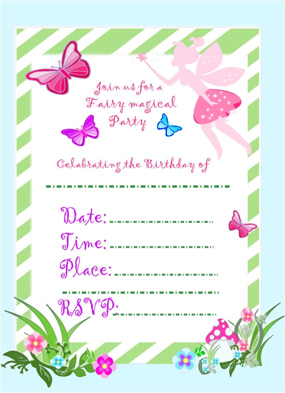 fairy invitation fairy party diy birthday