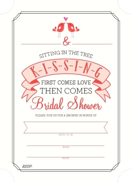 k i s s i n g bridal shower fill in the blank invitation