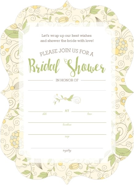 whimsical yellow flower bridal shower fill in the blank invitation