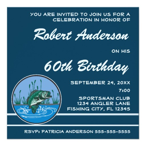 bass fish birthday party invitation