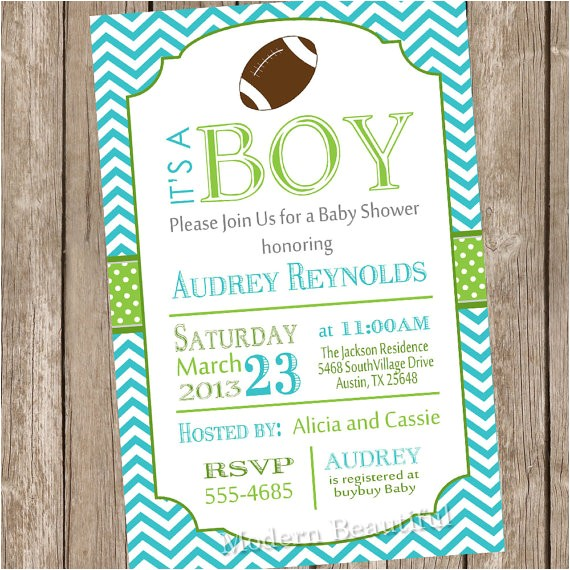 chevron football baby shower invitation