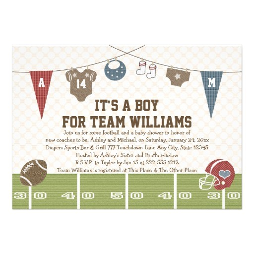 couples co ed football baby shower invitations