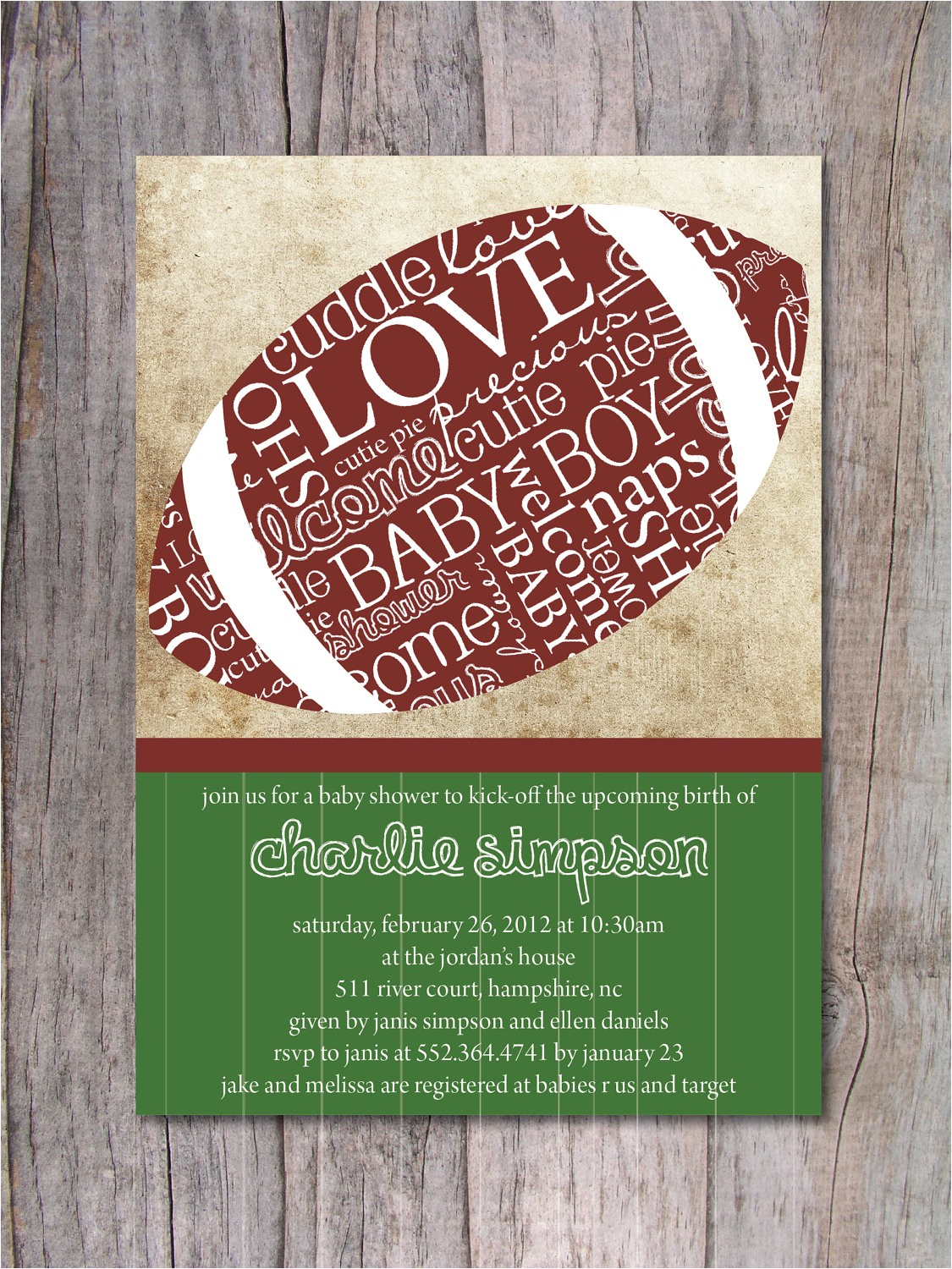 football baby shower invitation sports
