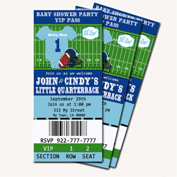 football baby shower printable ticket