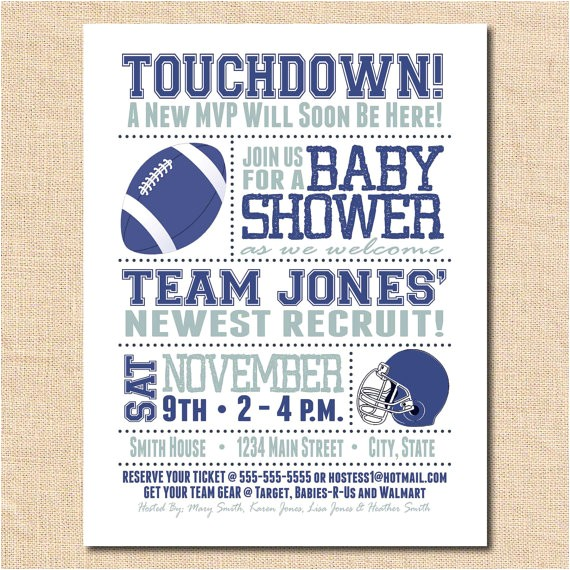 baby shower invitation card football