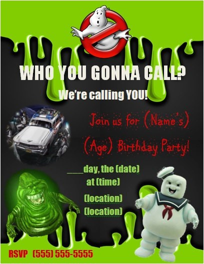 ghostbusters birthday party invitation