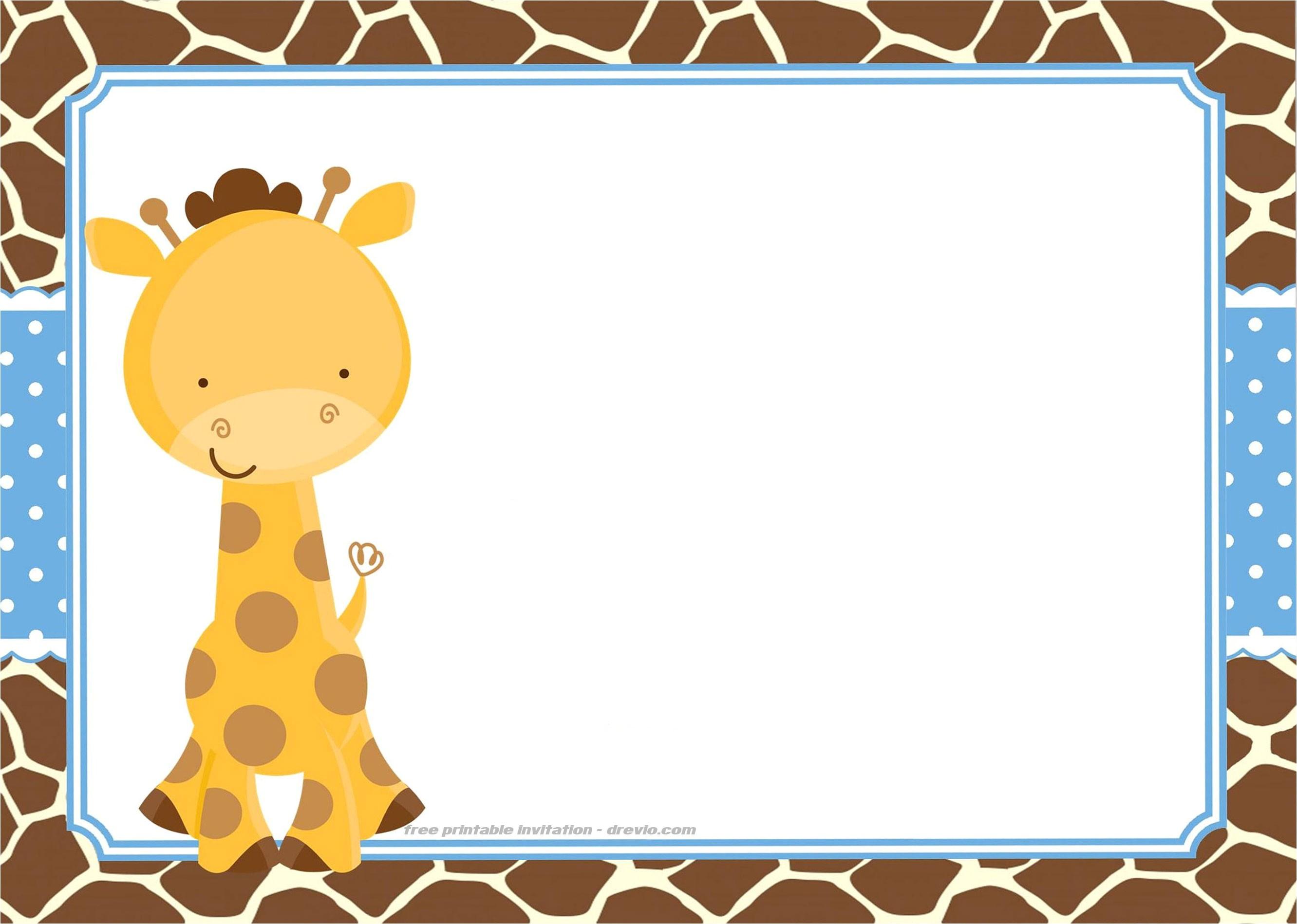 free giraffe birthday and baby shower invitation templates