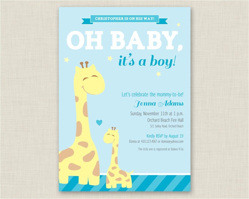 giraffe baby shower invitation printable